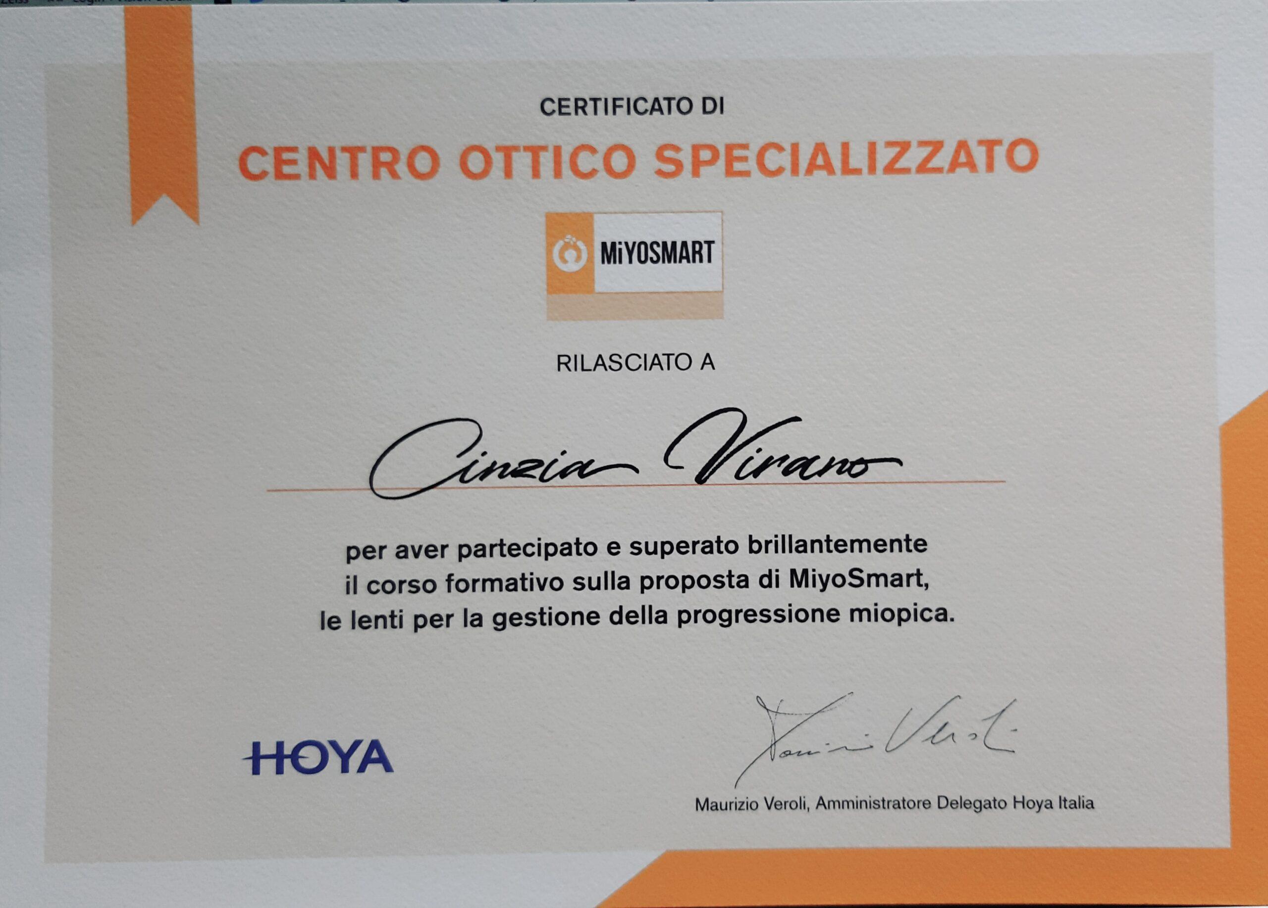 Centro ottico specializzato lenti MiyoSmart